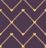Κομψό σχέδιο με τις χρυσές καρδιές στην αλυσίδα δαχτυλιδιών απεικόνιση αποθεμάτων