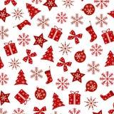 Κομψό σχέδιο Χριστουγέννων που επαναλαμβάνει στο άσπρο υπόβαθρο Στοκ Εικόνες