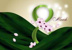 Κομψό υπόβαθρο για την ημέρα των διεθνών γυναικών στις 8 Μαρτίου διακοπών με τα ρόδινα λουλούδια και το πράσινο ψηφίο οκτώ διάνυσ απεικόνιση αποθεμάτων