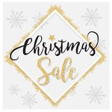 Κομψό υπόβαθρο πώλησης Χριστουγέννων με το λάμποντας χρυσό ακτινοβολώντας υπόβαθρο αστεριών, στο διάνυσμα Στοκ Εικόνες