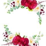 Κομψό φθινόπωρο γύρω από το floral πλαίσιο σχεδίου ανθοδεσμών διανυσματικό διανυσματική απεικόνιση