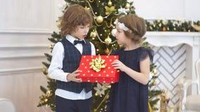 Κομψό χριστουγεννιάτικο δέντρο που διακοσμείται με τις αστράφτοντας σφαίρες γυαλιού και τα φω'τα νεράιδων απόθεμα βίντεο