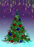 Κομψό χριστουγεννιάτικο δέντρο ελεύθερη απεικόνιση δικαιώματος