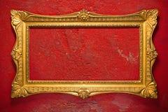 κομψό χρυσό κόκκινο πλαισίων Στοκ εικόνες με δικαίωμα ελεύθερης χρήσης