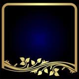 Κομψό χρυσό floral πλαίσιο στο μπλε διανυσματική απεικόνιση