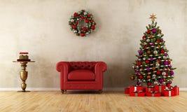 Κομψό δωμάτιο με τη διακόσμηση Χριστουγέννων Στοκ φωτογραφία με δικαίωμα ελεύθερης χρήσης