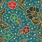 Κομψό floral άνευ ραφής σχέδιο μπατίκ για την εκτύπωση και τη διακόσμηση στοκ εικόνα