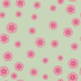 Κομψό sakura υπόβαθρο σχεδίων ανθών άνευ ραφής πέρα από πράσινο Στοκ Εικόνες