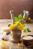 Κονίαμα με τα λουλούδια και τα χορτάρια για τη SPA και aromatherapy Στοκ εικόνα με δικαίωμα ελεύθερης χρήσης