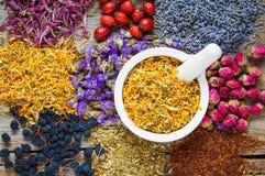 Κονίαμα των ξηρών marigold λουλουδιών, των υγιών χορταριών και του βοτανικού τσαγιού Στοκ Φωτογραφία