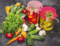 Κονσερβοποιημένα και φρέσκα λαχανικά Στοκ Εικόνες