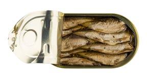 Κονσερβοποιημένες κλυπέες στο ανοιγμένο βάζο που απομονώνεται στο άσπρο υπόβαθρο Στοκ Εικόνες