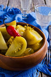 Κονσερβοποιημένες πράσινες ντομάτες στοκ εικόνες με δικαίωμα ελεύθερης χρήσης