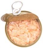 Κονσερβοποιημένη νιφάδα τόνου με το ανοιγμένο καπάκι Ι Στοκ εικόνες με δικαίωμα ελεύθερης χρήσης