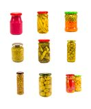 Κονσερβοποιημένη ποικιλία συλλογή δοχείων γυαλιού λαχανικών που απομονώνεται στο λευκό Στοκ Εικόνες
