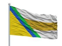 Κοντάρι σημαίας του Ιησού Maria City Flag On, τμήμα της Κολομβίας, σαντάντερ, που απομονώνεται στο άσπρο υπόβαθρο Απεικόνιση αποθεμάτων