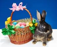 Κοντά στο καλάθι με τα τόξα και τα χρωματισμένα αυγά το κουνέλι κάθεται Στοκ εικόνες με δικαίωμα ελεύθερης χρήσης