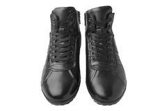 Κοντές μπότες δέρματος ατόμων ` s, που απομονώνονται στο άσπρο υπόβαθρο Στοκ φωτογραφίες με δικαίωμα ελεύθερης χρήσης