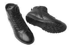Κοντές μπότες δέρματος ατόμων ` s, που απομονώνονται στο άσπρο υπόβαθρο Στοκ Φωτογραφία