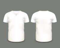Κοντό μανίκι μπλουζών β-λαιμών ατόμων άσπρο κατά τις μπροστινές και πίσω απόψεις δρύινο διάνυσμα προτύπων κορδελλών φύλλων δαφνών Στοκ φωτογραφίες με δικαίωμα ελεύθερης χρήσης