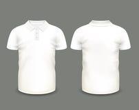 Κοντό μανίκι πουκάμισων πόλο ατόμων άσπρο κατά τις μπροστινές και πίσω απόψεις δρύινο διάνυσμα προτύπων κορδελλών φύλλων δαφνών σ Στοκ εικόνες με δικαίωμα ελεύθερης χρήσης