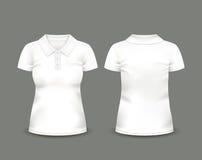 Κοντό μανίκι πουκάμισων πόλο γυναικών άσπρο κατά τις μπροστινές και πίσω απόψεις δρύινο διάνυσμα προτύπων κορδελλών φύλλων δαφνών Στοκ Εικόνα