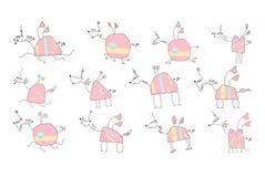 Κοπάδι των ρόδινων μονοκέρων - διανυσματική απεικόνιση Doodle Στοκ εικόνες με δικαίωμα ελεύθερης χρήσης