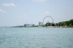 Κοπάδι του Κύκνου στη λίμνη Balaton σε Siofok με τη ρόδα Ferris στο θόριο Στοκ Εικόνες