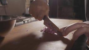 Κοπή αρχιμαγείρων επάνω ένα κρεμμύδι με ένα μαχαίρι απόθεμα βίντεο