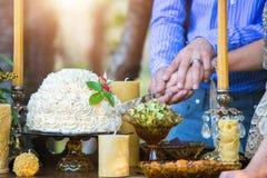 Κοπή γαμήλιων κέικ Στοκ εικόνες με δικαίωμα ελεύθερης χρήσης