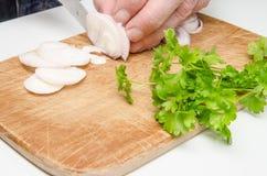 Κοπή κρεμμυδιών στην κουζίνα 1 στοκ εικόνες με δικαίωμα ελεύθερης χρήσης