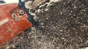 Κοπή μέσω του ξύλου με το αλυσιδοπρίονο έξοχο σε σε αργή κίνηση απόθεμα βίντεο