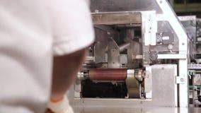 Κοπή μιας φραντζόλας του ψωμιού στα κομμάτια και συσκευασία απόθεμα βίντεο