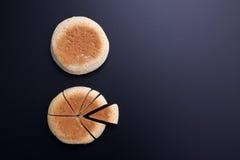 Κοπή ψωμιού με μορφή του διαγράμματος πιτών στον πίσω πίνακα Στοκ εικόνα με δικαίωμα ελεύθερης χρήσης