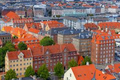 Κοπεγχάγη εναέρια όψη πόλεων στοκ φωτογραφίες με δικαίωμα ελεύθερης χρήσης