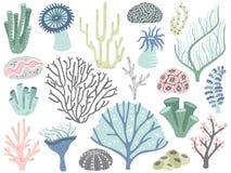 Κοράλλια και φύκι ενυδρείων Θαλάσσια ωκεάνια χλωρίδα κοραλλιών, υποβρύχια φύκια ντεκόρ και διαφορετικά κινούμενα σχέδια εργοστασί διανυσματική απεικόνιση