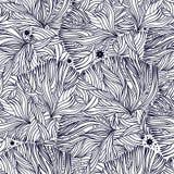 Κοράλλι ή φύκι στο ωκεάνιο άνευ ραφής σχέδιο νύχτας διανυσματική απεικόνιση