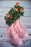 Κοράλλι-χρωματισμένα τριαντάφυλλα με τα σταγονίδια νερού στα φύλλα στα ρόδινα λαστιχένια πάνινα παπούτσια σε ένα ξύλινο υπόβαθρο στοκ φωτογραφία