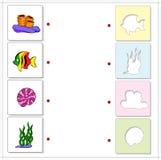 Κοράλλι, ψάρια, φύκι, κοχύλι Εκπαιδευτικό παιχνίδι για τα παιδιά για τη θάλασσα ελεύθερη απεικόνιση δικαιώματος