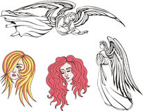 κορίτσια αγγέλων διανυσματική απεικόνιση