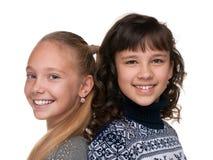κορίτσια ευτυχή δύο Στοκ Εικόνες