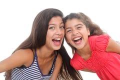 κορίτσια ευτυχή δύο Στοκ φωτογραφίες με δικαίωμα ελεύθερης χρήσης