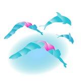 Κορίτσια και δελφίνια Στοκ εικόνα με δικαίωμα ελεύθερης χρήσης