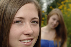 κορίτσια κινηματογραφήσ&ep Στοκ Εικόνα