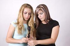 κορίτσια λυπημένα δύο έκφρ&al Στοκ Φωτογραφία