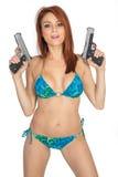 Κορίτσια με τα πυροβόλα όπλα στοκ εικόνες