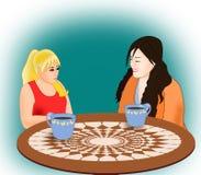 Κορίτσια με τον καφέ Στοκ φωτογραφία με δικαίωμα ελεύθερης χρήσης