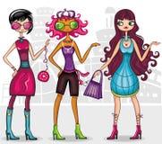 κορίτσια μόδας αστικά Στοκ Εικόνες