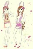 Κορίτσια μόδας με τα παιχνίδια λαγουδάκι Ελεύθερη απεικόνιση δικαιώματος