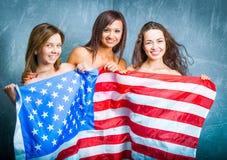 Κορίτσια μόδας με την αμερικανική σημαία Στοκ Εικόνες
